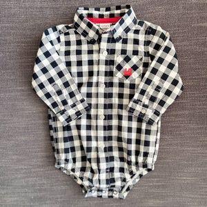 Carter's Black White Check Plaid Dress Shirt 6-12m